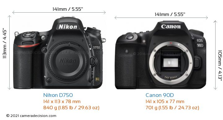 Nikon D750 vs Canon 90D Camera Size Comparison - Front View
