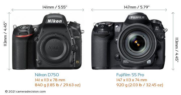 Nikon D750 vs Fujifilm S5 Pro Camera Size Comparison - Front View