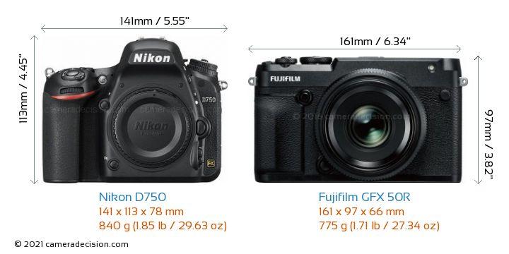 Nikon D750 vs Fujifilm GFX 50R Camera Size Comparison - Front View