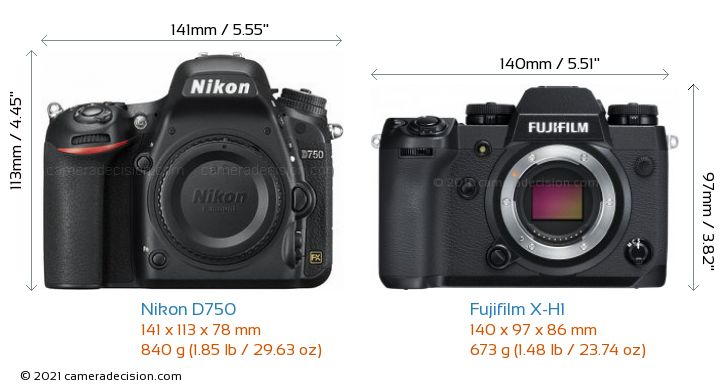 Nikon D750 vs Fujifilm X-H1 Camera Size Comparison - Front View