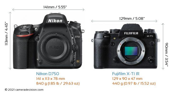 Nikon D750 vs Fujifilm X-T1 IR Camera Size Comparison - Front View
