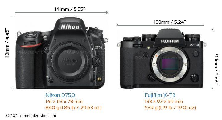 Nikon D750 vs Fujifilm X-T3 Camera Size Comparison - Front View