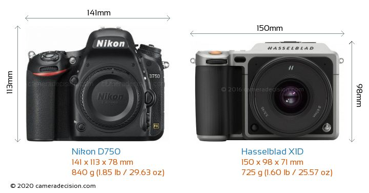 Nikon D750 vs Hasselblad X1D Camera Size Comparison - Front View