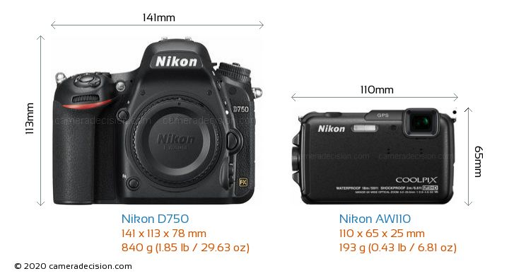 Nikon D750 vs Nikon AW110 Camera Size Comparison - Front View