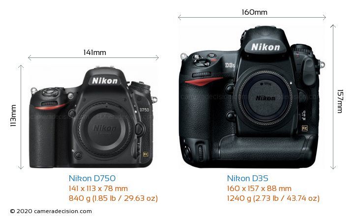 Nikon D750 vs Nikon D3S Camera Size Comparison - Front View
