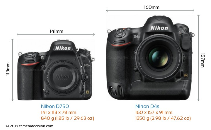 Nikon D750 vs Nikon D4s Camera Size Comparison - Front View