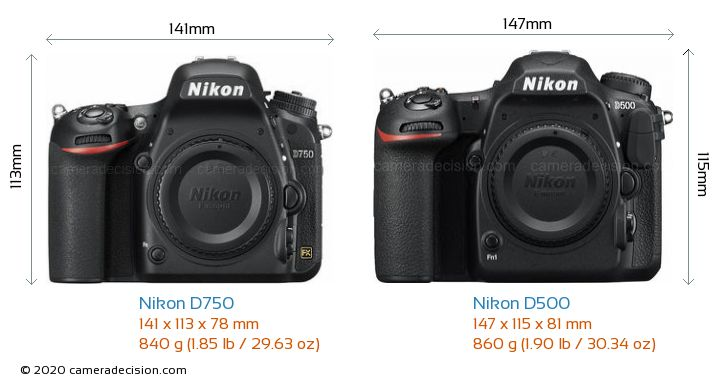 Nikon D750 vs Nikon D500 Camera Size Comparison - Front View