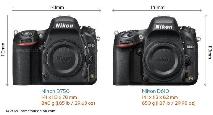 Nikon D750 vs Nikon D610 Camera Size Comparison - Front View