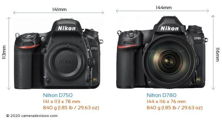 Nikon D750 vs Nikon D780 Camera Size Comparison - Front View