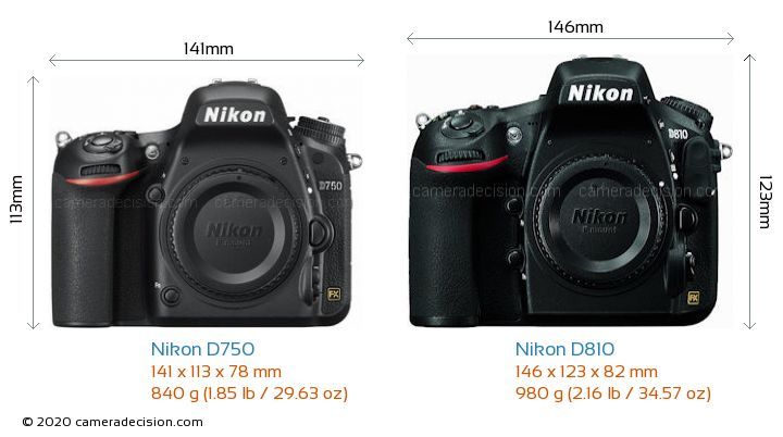 Nikon D750 vs Nikon D810 Camera Size Comparison - Front View