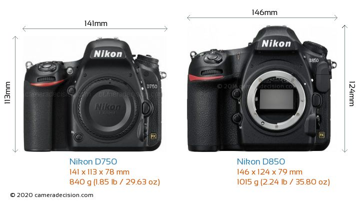 Nikon D750 vs Nikon D850 Camera Size Comparison - Front View