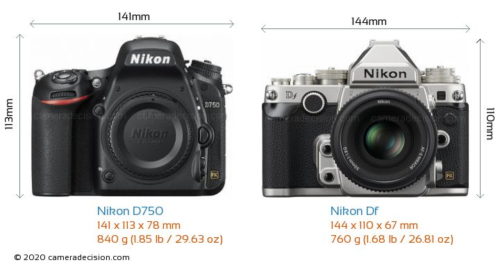 Nikon D750 vs Nikon Df Camera Size Comparison - Front View