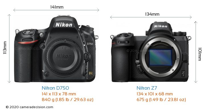 Nikon D750 vs Nikon Z 7 Camera Size Comparison - Front View