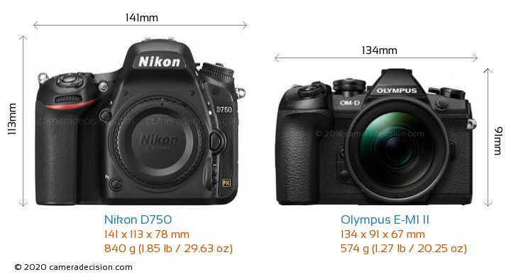 Nikon D750 vs Olympus E-M1 II Camera Size Comparison - Front View