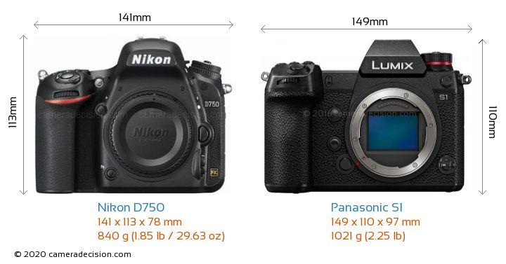 Nikon D750 vs Panasonic S1 Camera Size Comparison - Front View