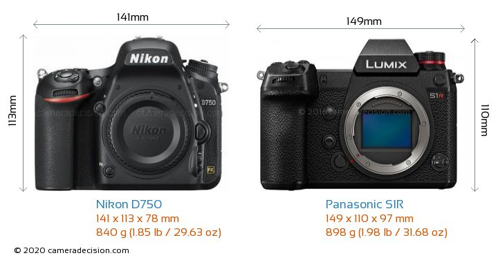 Nikon D750 vs Panasonic S1R Camera Size Comparison - Front View