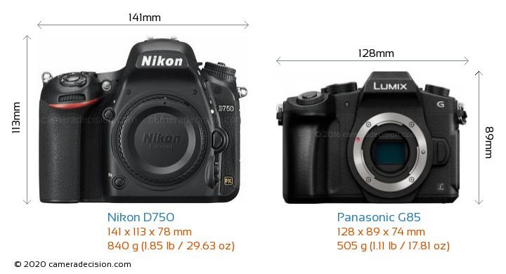 Nikon D750 vs Panasonic G85 Camera Size Comparison - Front View