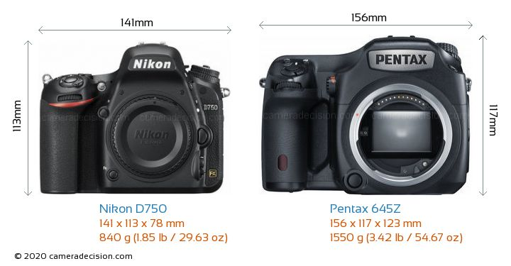 Nikon D750 vs Pentax 645Z Camera Size Comparison - Front View