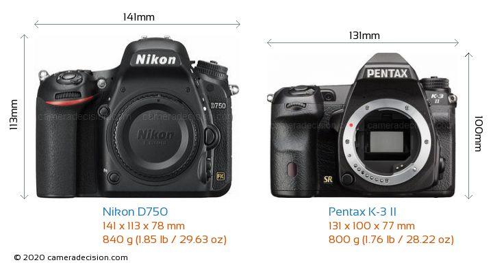 Nikon D750 vs Pentax K-3 II Camera Size Comparison - Front View