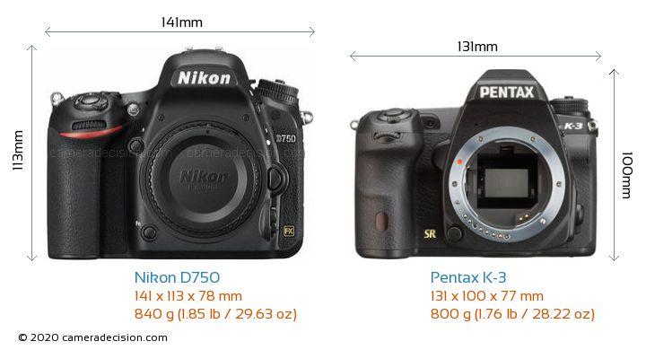 Nikon D750 vs Pentax K-3 Camera Size Comparison - Front View