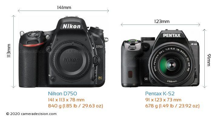 Nikon D750 vs Pentax K-S2 Camera Size Comparison - Front View