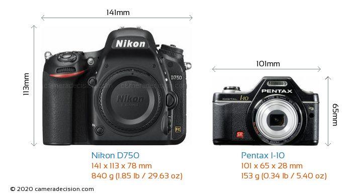 Nikon D750 vs Pentax I-10 Camera Size Comparison - Front View