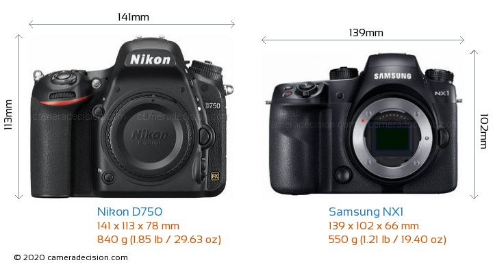 Nikon D750 vs Samsung NX1 Camera Size Comparison - Front View