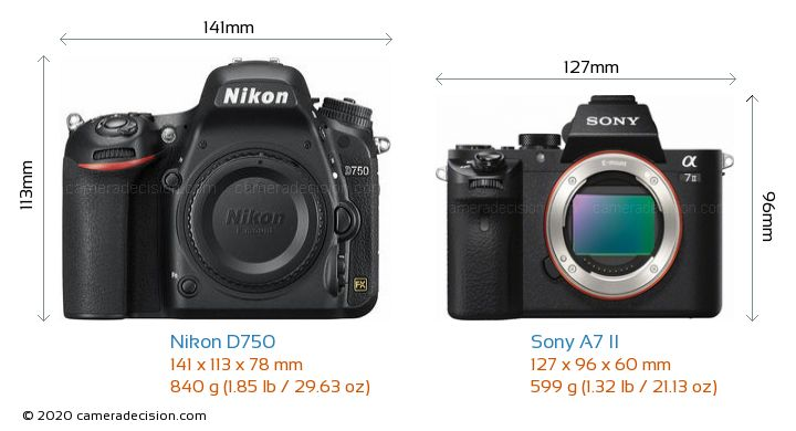 Nikon D750 vs Sony A7 II Camera Size Comparison - Front View