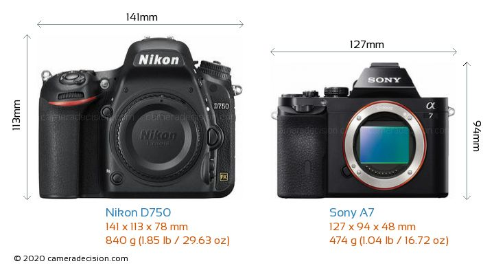 Nikon D750 vs Sony A7 Camera Size Comparison - Front View