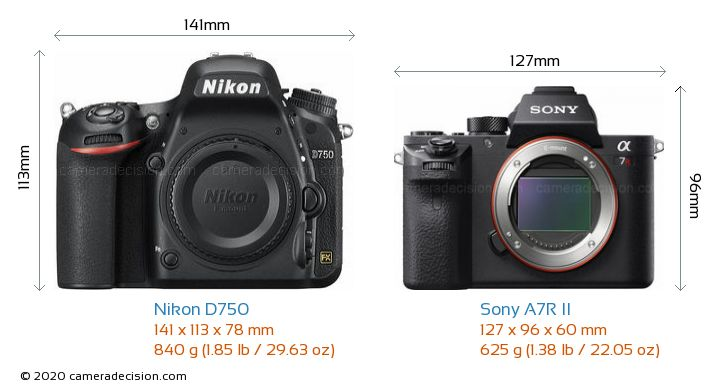 Nikon D750 vs Sony A7R II Camera Size Comparison - Front View