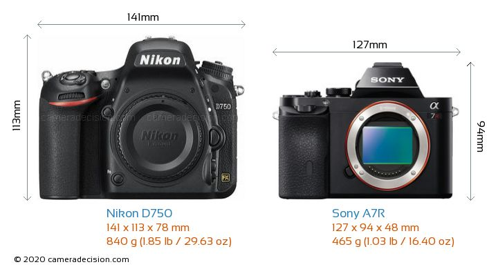 Nikon D750 vs Sony A7R Camera Size Comparison - Front View