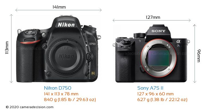 Nikon D750 vs Sony A7S II Camera Size Comparison - Front View