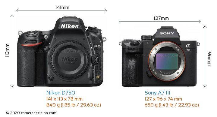 Nikon D750 vs Sony A7 III Camera Size Comparison - Front View