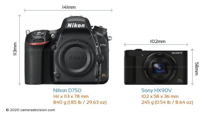 Nikon D750 vs Sony HX90V Camera Size Comparison - Front View