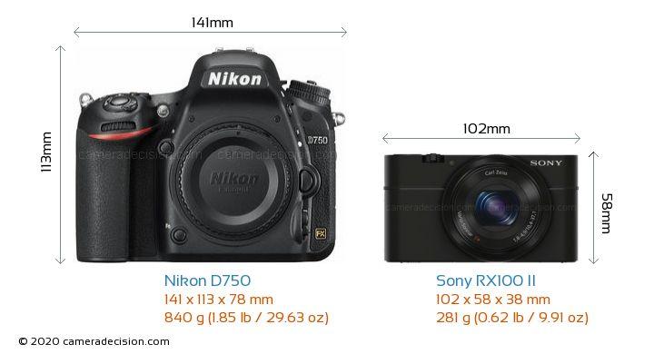 Nikon D750 vs Sony RX100 II Camera Size Comparison - Front View