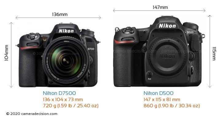 Nikon D7500 vs Nikon D500 Camera Size Comparison - Front View