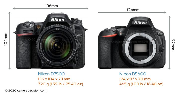 Nikon D7500 vs Nikon D5600 Camera Size Comparison - Front View