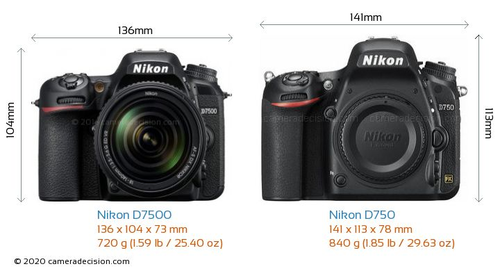 Nikon D7500 vs Nikon D750 Camera Size Comparison - Front View