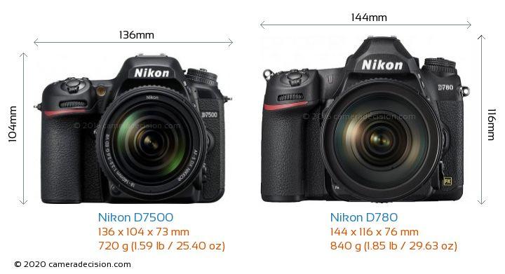 Nikon D7500 vs Nikon D780 Camera Size Comparison - Front View