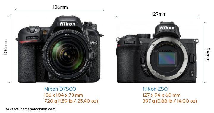 Nikon D7500 vs Nikon Z50 Camera Size Comparison - Front View