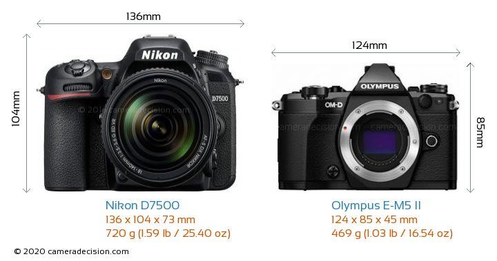Nikon D7500 vs Olympus E-M5 II Camera Size Comparison - Front View