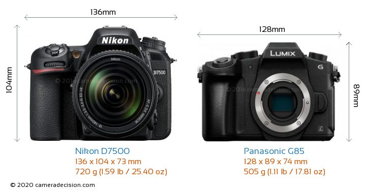 Nikon D7500 vs Panasonic G85 Camera Size Comparison - Front View