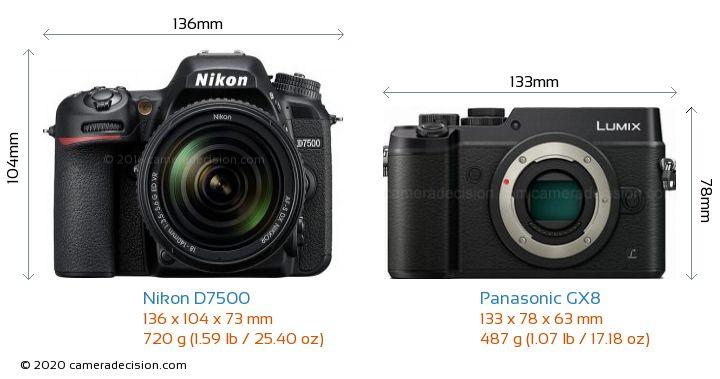 Nikon D7500 vs Panasonic GX8 Camera Size Comparison - Front View