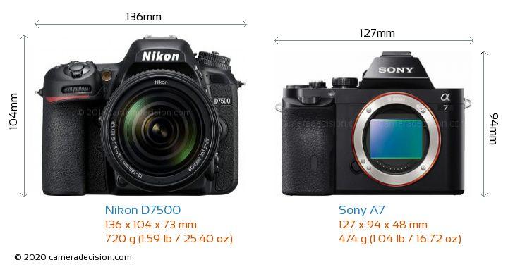 Nikon D7500 vs Sony A7 Camera Size Comparison - Front View