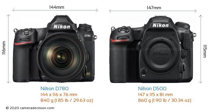 Nikon D780 vs Nikon D500 Camera Size Comparison - Front View