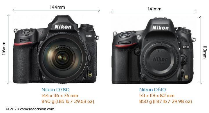 Nikon D780 vs Nikon D610 Camera Size Comparison - Front View