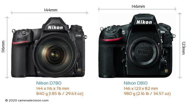 Nikon D780 vs Nikon D810 Camera Size Comparison - Front View