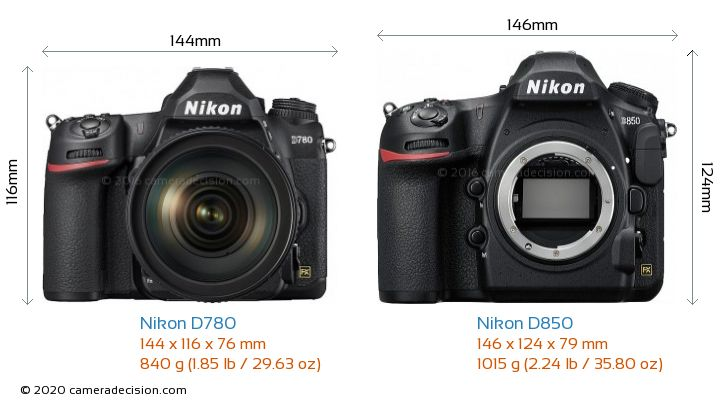 Nikon D780 vs Nikon D850 Camera Size Comparison - Front View