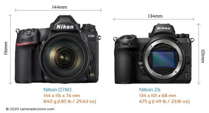 Nikon D780 vs Nikon Z6 Camera Size Comparison - Front View