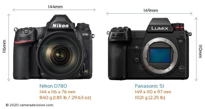 Nikon D780 vs Panasonic S1 Camera Size Comparison - Front View